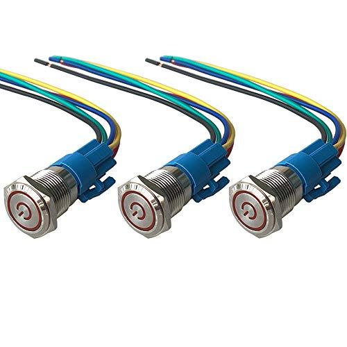 QitinDasen 3Pcs Premium 12V / 24V 5A Interruttore a Pulsante Autobloccante, 19mm Interruttore a Pulsante in Metallo con LED Rosso, Interruttore Avviamento Auto in Acciaio Inossidabile impermeabile