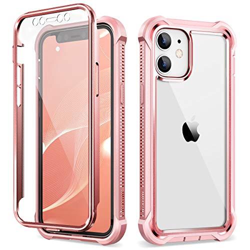 Dexnor Custodia compatibile con iphone 12 e per iphone 12 Pro 6.1'', cover Copertura Protettiva Antiurto per Tutto il Corpo a 360 Gradi con Protezione per lo Schermo Integrata - Baby Pink