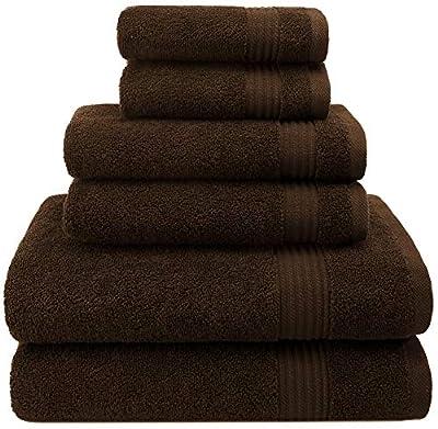 Hotel & Spa Quality, Absorbent & Soft Decorative Kitchen & Bathroom Sets, 100% Turkish Genuine Cotton 6 Piece Towel Set, Includes 2 Bath Towels, 2 Hand Towels, 2 Washcloths - Chocolate Brown
