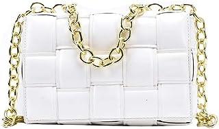 Damen-Umhängetasche, gewebte Klappe, Handtaschen für Frauen, hochwertiges Leder, dicke Kette