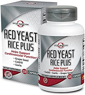 Optim Nutrition Red Yeast Rice Plus CoQ10, Garlic, Grapeseed for Cardiovascular Support (120 Capsules)