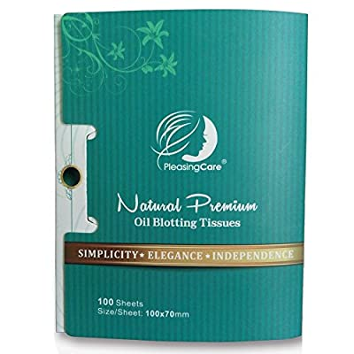 PleasingCare Oil Absorbing Facial Blotting Sheets For Oily Skin, 100 Count, pack of 6 - Natural Bamboo Charcoal Handy Face Blotting Paper for Both Women and Men Use