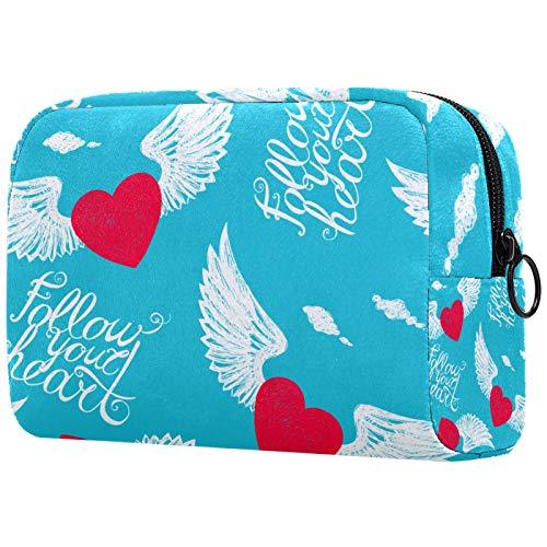 Bolsa de maquillaje personalizable, portátil, para mujer, bolso de mano, organizador de viaje, diseño de alas y corazón, con letras inspiradoras