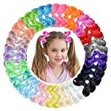 40pcs 3 Inches Hair Bows Alligator Clips for Girls Grosgrain Ribbon Hair Barrettes Accessories for Toddler Kids