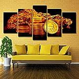 Impresiones Sobre Lienzo 5 Panel Modern Artwork - Las Monedas De Oro No Tienen Precio - Hd Imprimir Cuadro Lienzo Pared Cartel Decoración Salón Oficina Decoración Regalo 150X80Cm