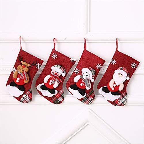 Topanke Set da 4 Camino Calza di Natale, 22cm Babbo Natale Pupazzo di Neve e Elk Calze Natalizie da Appendere Candy Sacchetti Regalo per Albero di Natale Festa di Natale Decorazioni