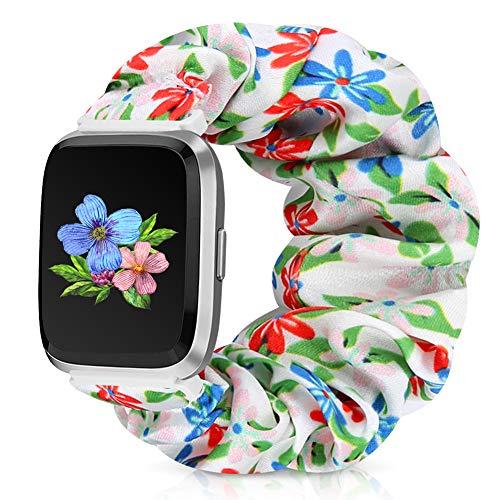 Runostrich Scrunchie Elastic Watch Band Women for Fitbit Versa/Versa 2/Versa Lite/SE, Floral Breathable Replacement Strap Scrunchy Wristband Bracelet Accessories (M Red-Blue-Pink Flower, M)