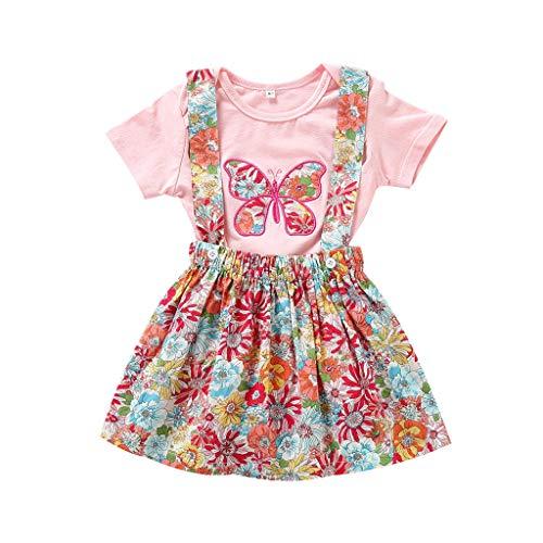 Zegeey Baby Kinder MäDchen Strampler Jumpsuit Outfits Tops Tee Blusen Floral Rock Geburtstag Geschenk 2-Teiliges(Rosa,74)