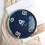 Mzxun Creativa mujeres Comida Tray Hotel vajilla de cerámica japonesa plato de carne plato occidental plato de placa plana placa sopa del plato del modelo del color 21cm