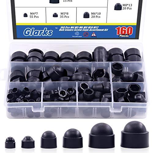 Glarks 160Pcs Black Bolt Covers Screw Caps Assortment Kit, M4 M5 M6 M8 M10 M12 Nylon Acorn Dome Protection Caps for Protecting Hexagon Shaped Screws Bolts (Black)