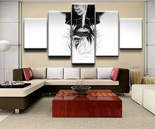 tong99 canvas kunst wandfoto decoratie woonkamer 5 bord animatie poster linnen doek bedrukken modern olieverfschilderij L-30x40 30x60 30x80cm Frame