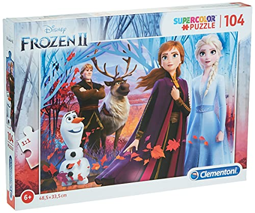 Clementoni Clementoni-27274-Supercolor Disney Frozen 2-104 pezzi, puzzle bambini, Multicolore, 27274