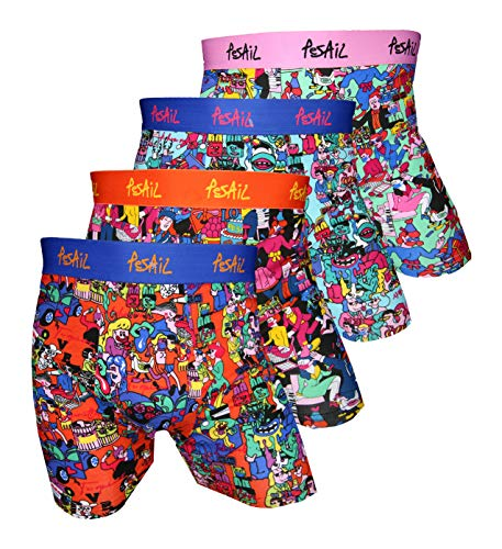 Pesail Boxershort Lets go Party Cartoon Motiven 4er Pack, Größe Medium (M), Farbe je 1x blau orange, pink, blau, orange