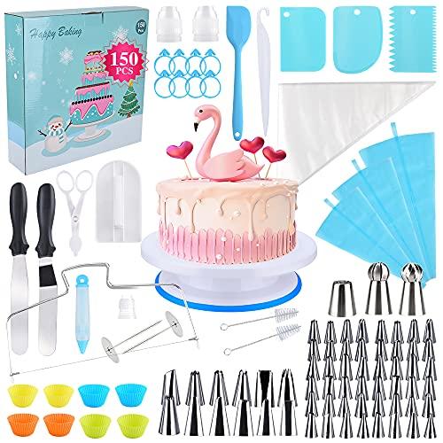 Oziral Set di 150 Decorazione la Torta Kit, Decorazione Torta Set Kit Pasticceria Professionale con Ugelli a Yubo e Sacchetti,Spatola Glassa,Stampo per Cupcake per DIY