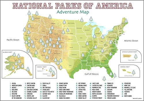 USA National Parks Scratch Off Poster | Up-To-Date Geographic Map With 62 Scratchable National Parks | Poster Size A2 | Perfect Gift Includes States & Territories with Scratch Pick & Cloth