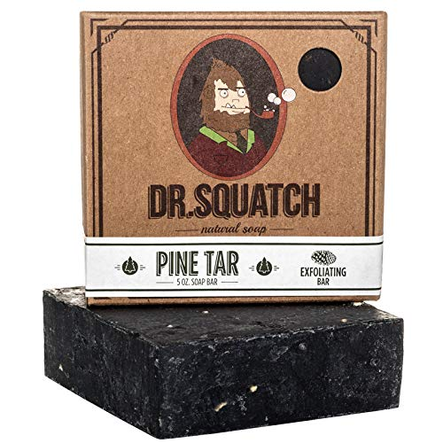 Dr. Squatch Pine Tar Soap – Mens Soap with Natural Woodsy Scent and Skin Scrub Exfoliation – Black Soap Bar Handmade...
