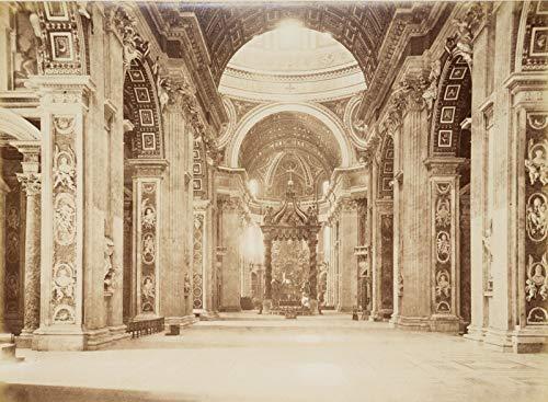 H. W. Fichter Kunsthandel: ALINARI, Innere des Petersdoms mit Baldachin-Ziborium, 19. Jh, Foto