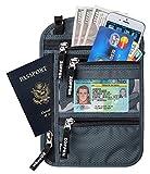 Zoppen RFID -Blocking Travel Passport holder Neck Stash Ultra Slim Wallet, Smoky Grey