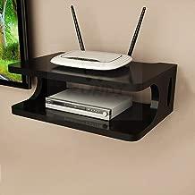 Kundi Wooden Set Top Box Holder WiFi Holder Flower Pot Holder Wall Shelf (Black)