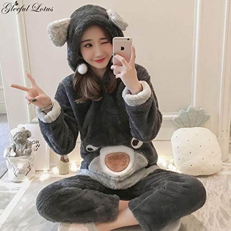UATECH Pyjamas Women Winter Pajama Set Kigurumi Kawaii Night Suit Fleece Sleepwear Nightwear Loungewear Korean Cute Pijama Home Clothes