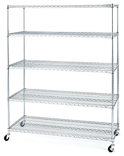 "Seville Classics UltraDurable Commercial-Grade 5-Tier NSF-Certified Wire Shelving with Wheels, 60"" W x 24"" D - Plated Steel"