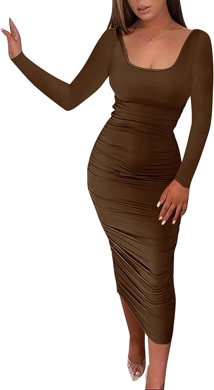 acelyn Women's Long Sleeve Ruched Bodycon Midi Dress Casual Long Dress Clubwear