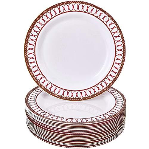 Pratos de jantar vermelhos de plástico   Decoração de Natal   Coleção Renascentista - 20 peças (26 cm)