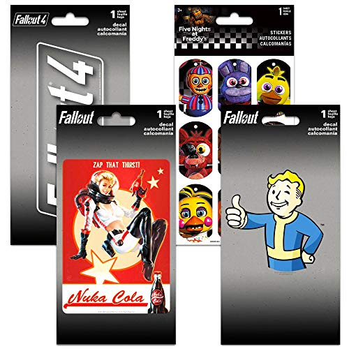 Fallout Decals for Cars Walls Set - Bundle Includes 3 Premium Fallout Video Game Stickers for Laptop, Car, MacBook with Bonus Stickers (Fallout Party Favors)