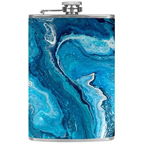 Petacas de Alcohol Azul Abstracto Petaca 227ml Acero Inoxidable para Whisky Vodka Alcohol líquido con embudos para Hombres y Mujeres 9.2x15cm