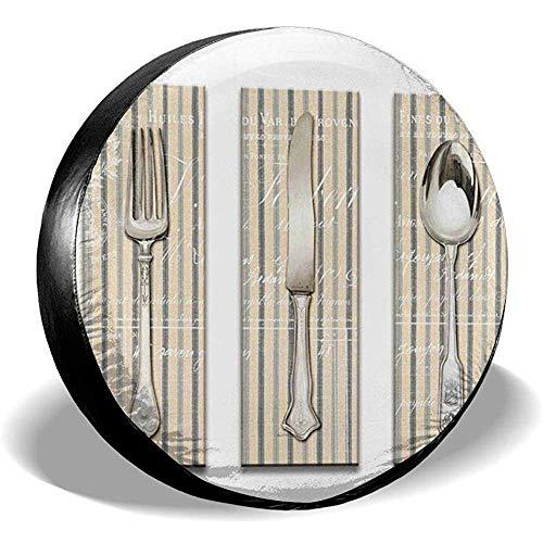 Spare Tire Wheel Cover Messer Gabel Und Löffel Auto Reifen Abdeckung Universal Reserverad Reifen Abdeckung Radabdeckungen Für Verschiedene Fahrzeuge Wohnmobil Wohnmobil Anhänger Suv Zubehör 76~79cm