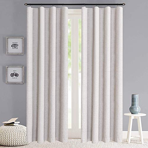 100% Blackout Shield Linen Blackout Curtains Total Blackout Curtains Rod Pocket/Clip Rings Hanging Singal Layer Blackout Curtains for Bedroom/Living Room(W50 x L84 2 Panels, Beige)