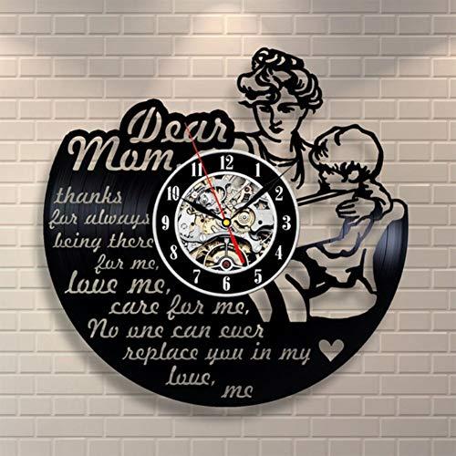 FXPCYGZz Reloj de Pared Vinyl Record Upcycling Mom'S Love Design Clock Wall Deco Vintage Family Room Decoration Art Gift Black, Diámetro 30cm