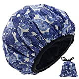 Terry Lined Jumbo Luxury Triple Layer Shower Cap for Women and Men Soft Silky Satin 100% Waterproof Microfiber Terry Cloth Reusable Washable Shower Hat with Matching Travel Bag and Gift Package