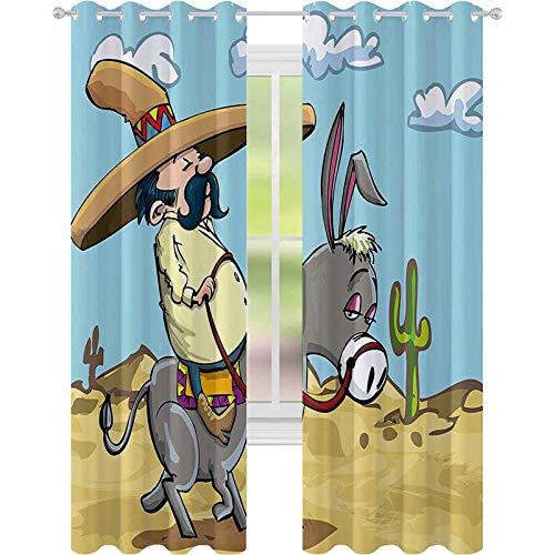 Cortina de aislamiento oscurecida con ojales, hombre mexicano con sombrero para montar a burro en el desierto con plantas de cactus, cortina de ventana de 52 x 84 para sala de estar, multicolor