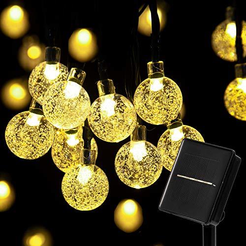 Solar KristallKugeln Lichterkette - 8 Meters 40 LED 8 Modi Warmweiß Wasserdichte Außerlichterkette Deko für Garten, Draußen,Bäume, Weihnachten, Hochzeiten, Party, Innen und Außen