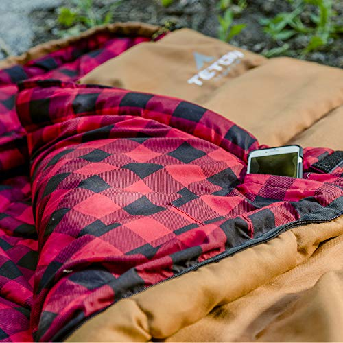 TETON Sports Deer Hunter Sleeping Bag; Warm and Comfortable Sleeping Bag Great for Camping Even in Cold Seasons; Brown, Right Zip