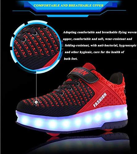 ZCXBHD LED Rollschuhschuhe Doppelräder Blinkend Leuchtende Schlittschuhe Outdoor Gymnastik Mode Sneaker Kinder Technische Skateboardschuhe Mit USB-Aufladung,Double Wheel 36