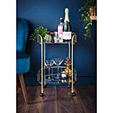 E2B Gold Drinks Trolley Glass Shelves Serving Bar Cart With Wheels Perfect for Home, Living Room, Serving Drinks - Gold