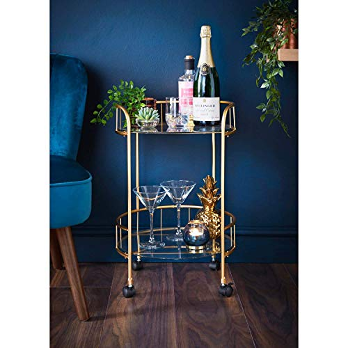 E2B Gold Drinks Trolley Glass Shelves Serving Bar Cart With Wheels Perfect...
