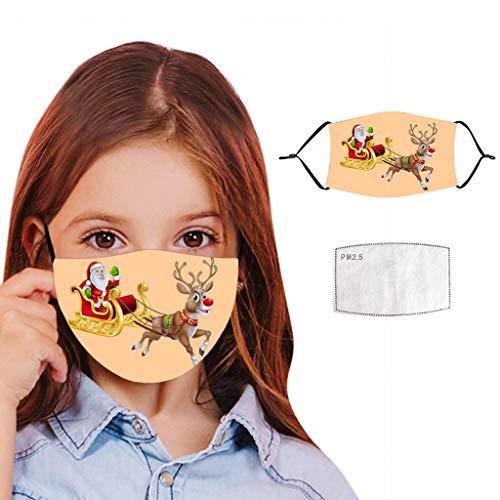 PPangUDing Kinder Weihnachten Mundschutz mit Motiv Waschbar Wiederverwendbarer Atmungsaktive Staubdicht Mund und Nasenschutz Halstuch Bandana Multifunktionstuch für Junge Mädchen