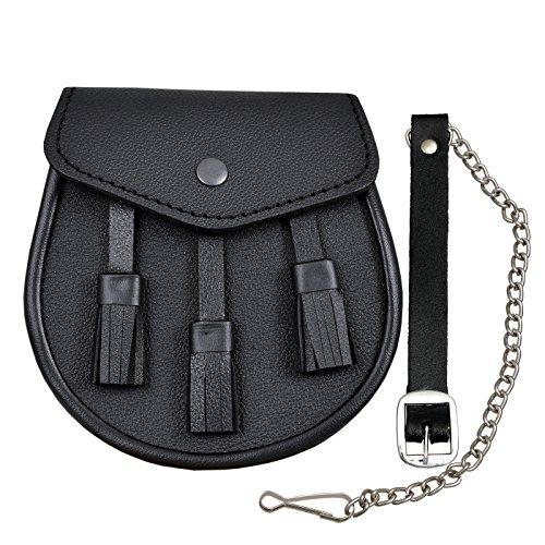 Scottish Black LEATHER Kilt SPORRAN and Belt 3 Tassels leather sporran by SHYNE KILTS U.K