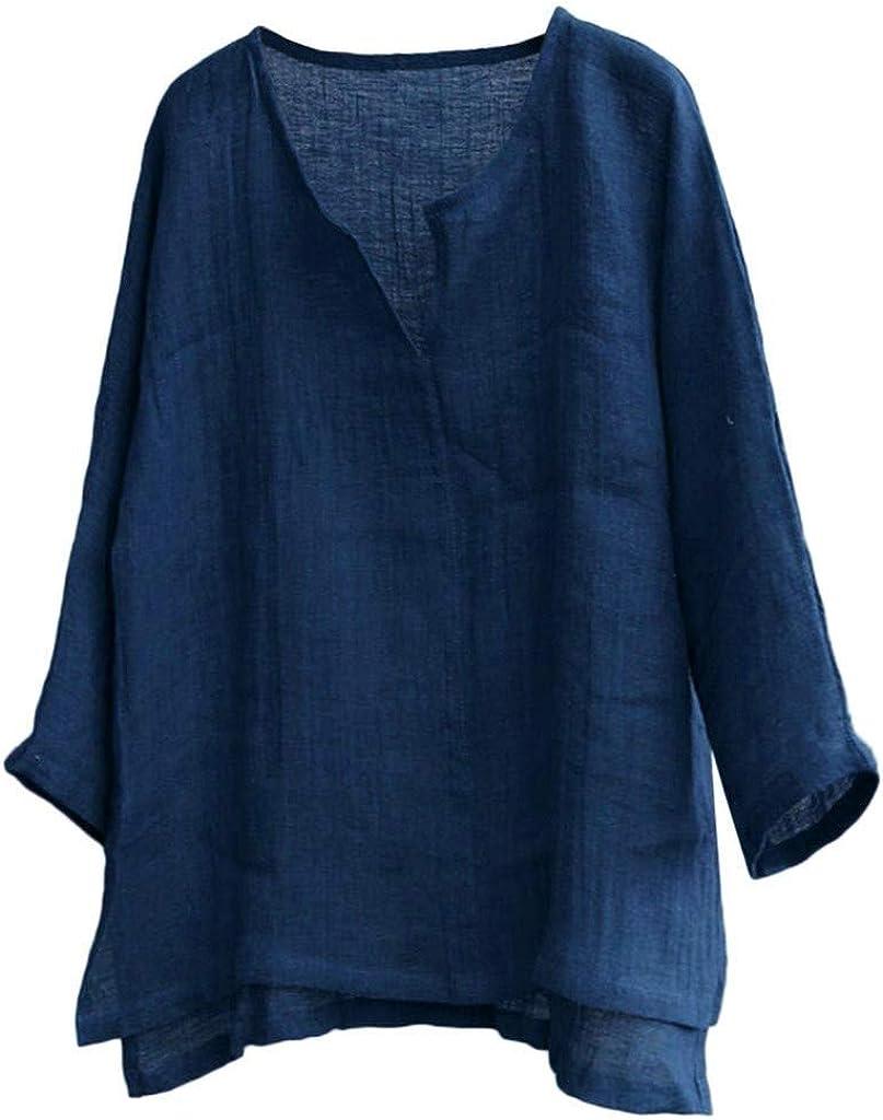 Forthery Mens V Neck Cotton Linen Hippie Shirts Long Sleeve Casual Henley T-Shirt Beach Summer Tops