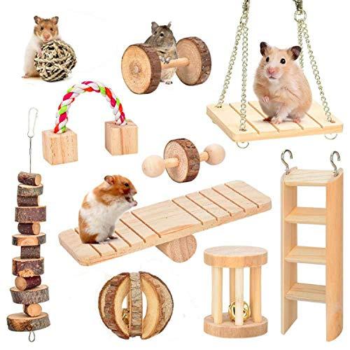 LKJYBG Hamster-Kauspielzeug, natürliches Holz, 10 Hanteln, Übungsglocke etc. Zahnpflege, Spielzeug für Papageien, syrische Hamster, Rennmäuse, Ratten, Meerschweinchen, Rennmäuse etc.