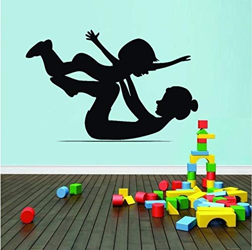 Lovemq Mother And Baby Gymnastics Wall Sticker Art Wall Decals For Baby Kids Nursery Bedroom Sport Room Decor 57X35Cm