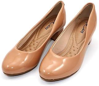 MISS AJ Nude Modish Shiny Block Heels Shoes for Women