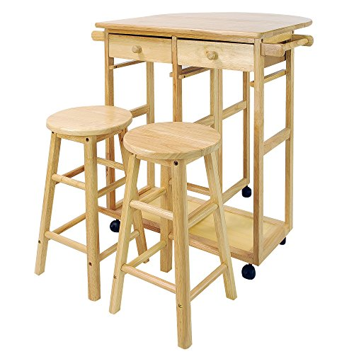 Casual Home Drop Leaf Breakfast Cart with 2...