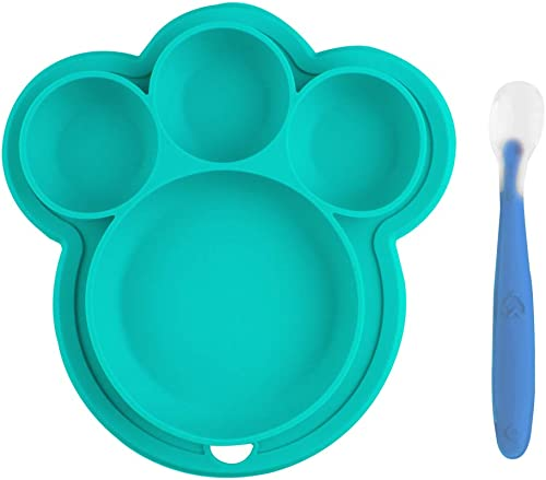 lowest Larcele Kids Feeding Plate, Portable Cartoon Plate lowest for Children, sale Bear Paw Dishes Plate ETCP-02 (Blue) outlet sale