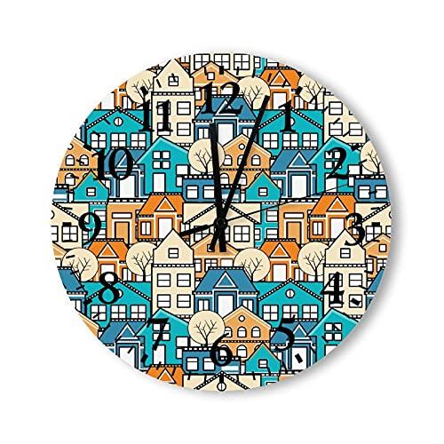 Reloj de pared de madera rústico de 12 pulgadas, funciona con pilas, patrón sin costuras, vintage, redondo, de madera, para cocina, dormitorios, baño, sala de estar