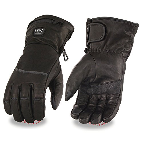 Milwaukee Leather-Men's Waterproof Heated Gantlet Glove w/I-Touch Comes With Portable Rechargeable Batteries -BLACK-2X-7513