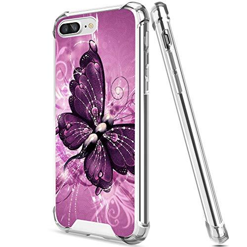 FAUNOW Funda transparente anticaída para iPhone 7/8 Plus, protección antiarañazos, con estilo de mariposa